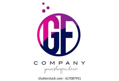 GF G F Circle Letter Logo Design with Purple Magenta Dots Bubbles Vector Illustration