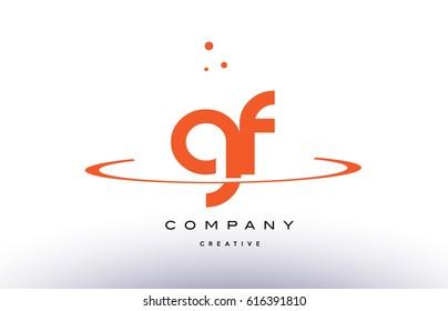 GF G F creative orange swoosh dots alphabet company letter logo design vector icon template