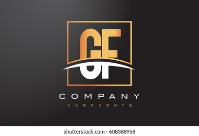 GF G F Golden Letter Logo Design with Swoosh and Rectangle Square Box Vector Design.
