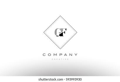 gf g f  retro vintage black white alphabet company letter logo line design vector icon template
