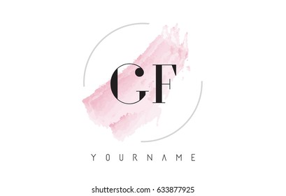 GF G F Watercolor Letter Logo Design with Circular Shape and Pastel Pink Brush.