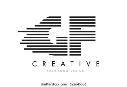 GF G F Zebra Letter Logo Design with Black and White Stripes Vector