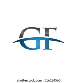 GF initial company blue swoosh logo