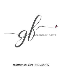 GF Initial Handwriting logo luxury vector beauty