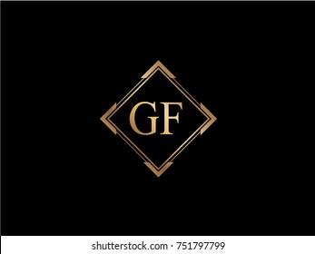 GF initial letter diamond shape golden logo