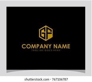 GF initial letter logo design