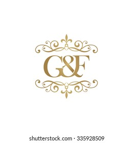 G&F Initial logo. Ornament ampersand monogram golden logo