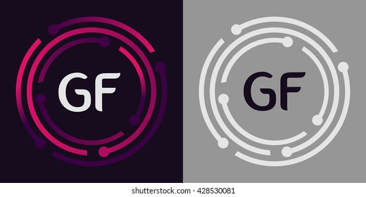 GF letters business logo icon design template elements in abstract background logo, design identity in circle, alphabet letter