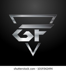 GF Logo, Metal Logo, Silver Logo, Monogram, Polygon