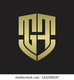 GF Logo monogram with emblem shield shape design isolated gold colors on black background