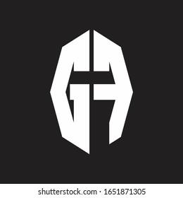 GF Logo monogram with octagonal ribbon style design template