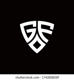 GF monogram logo with modern shield style design template isolated on black background