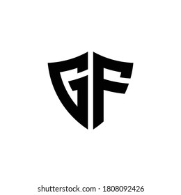GF monogram logo with shield shape design template isolated on white background