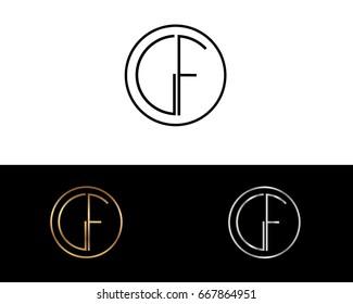 GF round circle shape initial letter logo