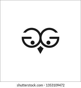 GG black and white letter logo