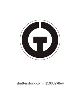 GG or double G or W or WT TW letter vector circle  logo