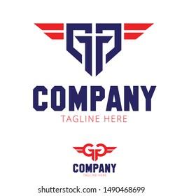 GG  or GTG logo letter based military wings design