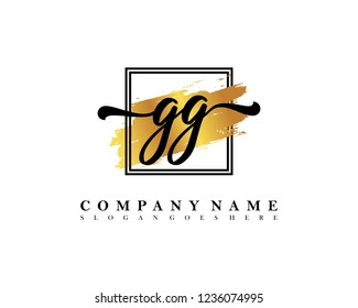 GG Initial handwriting logo concept