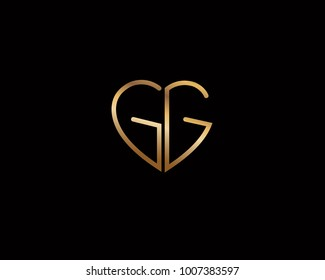 GG initial heart shape red colored logo