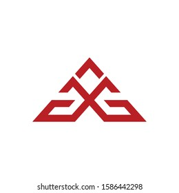 GG initial letters linked triangle shape logo