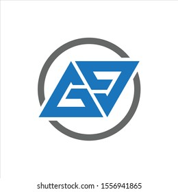 GG Letter Logo Design Vector Eps With Blue And Black