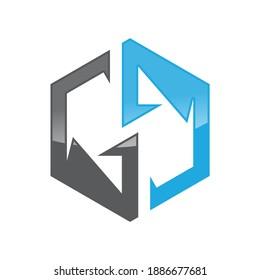 GG letter shaped hexagon style on the white background. Vector illustration EPS.8 EPS.10