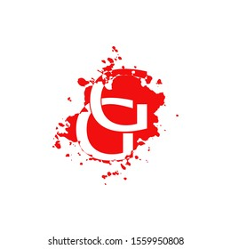 GG Letter Splatter logo.  Abstract Design concept blood splash  with hidden letter double G logo icon for initial, company identity and more brands.