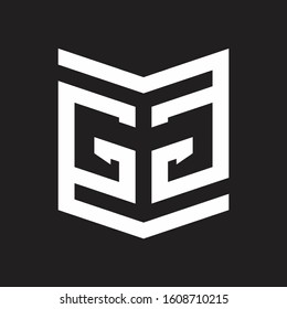 GG Logo Emblem Monogram With Shield Style Design Template Isolated On Black Background