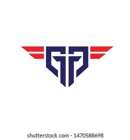 GG logo letter based military wings design