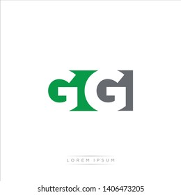 GG Logo Letter with Modern Negative space - Green and Grey Color EPS 10