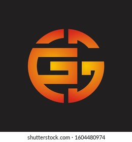 GG Logo monogram with cutting line style isolated on colors