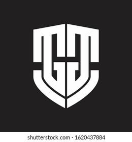 GG Logo monogram with emblem shield shape design isolated on black background