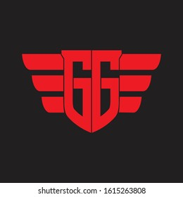 GG Logo monogram with emblem and wings element design template on red colors