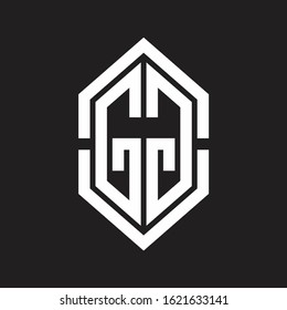 GG Logo monogram with hexagon shape and outline slice style with black and white