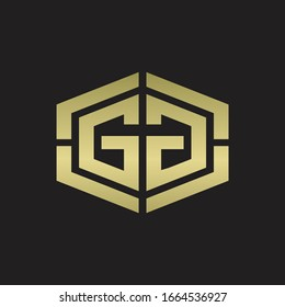 GG Logo monogram with hexagon shape and piece line rounded design tamplate on gold colors