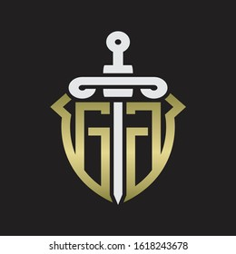 GG Logo monogram with sword and shield combination isolated with gold colors