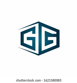 GG monogram logo with hexagon shape and negative space style ribbon design template