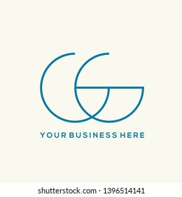 GG monogram logo.Typographic icon with double letter g.Alphabet uppercase initials isolated on light background.Intertwined thin lines.Geometric, clean style lettering.