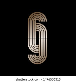 GG monogram logo.Typographic icon with double letter g.Lettering sign.Overlapped lines.Lowercase alphabet initials in golden metallic color isolated on dark background.Beauty,luxury style characters.