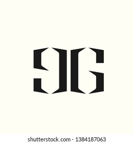 GG monogram.Typographic logo with double letter g.Lowercase and uppercase alphabet initials.Lettering icon isolated on light background.Modern, geometric, corporate, minimalist style.