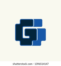 GG monogram.Typographic logo with double letter g in neon blue color isolated on light background.Alphabet initials lettering icon.Modern, bold, corporate, web style.