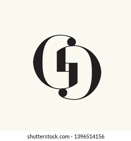 GG monogram.Typographic logo with double letter g.Uppercase lettering icon.Alphabet initials isolated on light background.Intertwined lines.Clean, modern, elegant style.