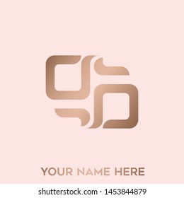 GG monogram.Typographic logo with double letter g.Lowercase lettering icon.Alphabet initials in rose gold metallic color isolated on light background.Abstract, modern, geometric style.