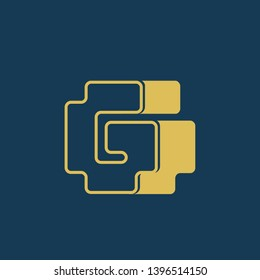 GG monogram.Typographic logo with double uppercase letter g.Lettering icon isolated on dark background.Alphabet initials sign.Modern, bold, corporate, web style.