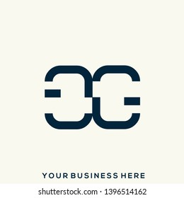 GG monogram.Typographic logo with double uppercase letter g.Lettering icon.Alphabet initials isolated on light background.Modern, clean, geometric style.