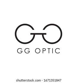 gg optic logo design vector icon