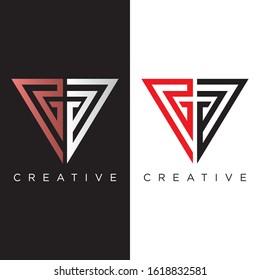 GG triangle logo design vector icon