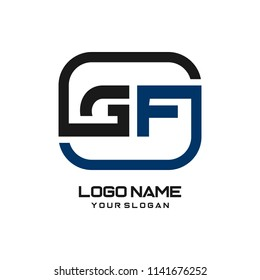 GH initial box letter logo template vector