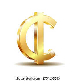 Ghana Cedi currency symbol, gold money sign, vector illustration on white background