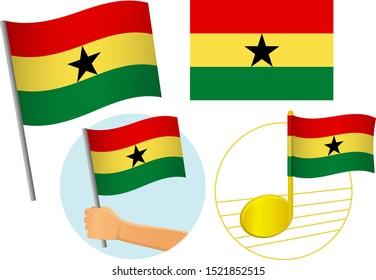 Ghana flag icon set. National flag of Ghana vector illustration